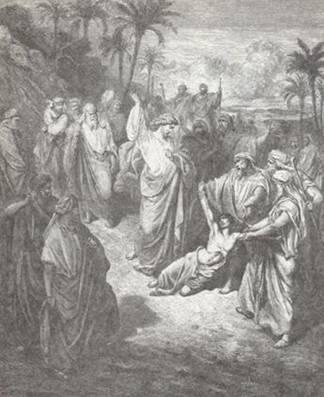 «Привели к Нему человека немого бесноватого. И когда бес был изгнан, немой стал говорить» (Евангелие от Матфея. 9, 32-33). Иллюстрация к Библии Гюстава Доре