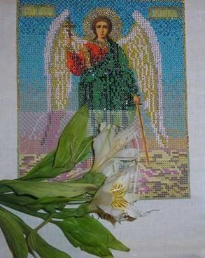 Евгения Краснова. Ангел Хранитель. Вышивка иконы