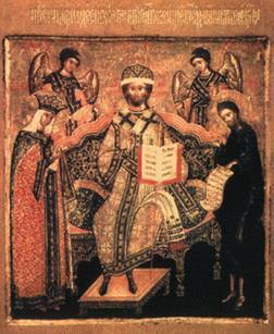 «Царь Царем». Икона Назария Истомина. 1616. На иконе изображен Иисус Христос на престоле с предстоящими Богородицей, Иоанном Предтечей, архангелами Михаилом и Гавриилом