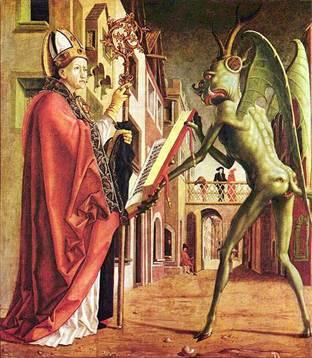 Михаэл Пахер. Блаженный Августин и сатана. Германия, XV век
