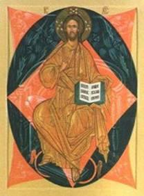 Икона «Спас в силах». Христос изображен сидящим на престоле в окружении небесных сил. Подножие поддерживают один из ангельских чинов -  Престолы, изображенные в виде крылатых огненных колес