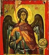 Церковь почитает архангела Михаила как защитника веры и борца против ересей и всякого зла. Его церковное именование «архистратиг» означает старший воин, вождь. На иконах архангела Михаила изображают с огненным мечом в руке или копьем низвергающим диавола.