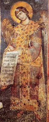 Архангел Гавриил. Охрид. 1294-1295 гг. Роспись церкви Богоматери Перивлепты. Источник: http://nesusvet.narod.ru