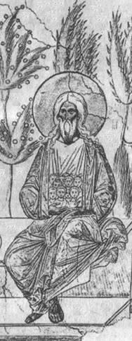 «Лоно Авраамово». На коленях праотца Авраама изображены души праведных в виде детей