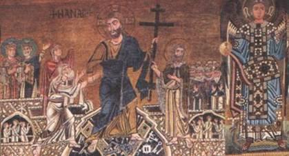 Сошествие Спасителя во ад. Фрагмент мозаики «Страшный суд». Торчелло, XIII век